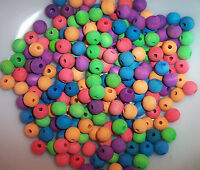 """100 Wood Bird Toy Parts 1/2"""" Large Colored Wooden Round Beads Small Craft W/Hole"""
