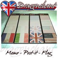 Novelty Sticky Notepad Flag Memo Note Pad Vintage Style UK USA Italy France
