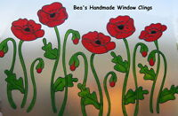 BEA'S LARGE STAINED GLASS EFFECT POPPY WINDOW  CLINGS CONSERVATORY STICKERS