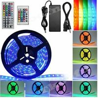 5M 3528/5050 SMD Waterproof Strip Light 300 LEDs 24/44 Key IR Remote Power DIY
