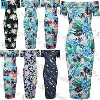Womens Floral Print Slim Bardot Bodycon Dress Ladies Off the Shoulder Midi Dress