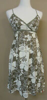 Schickes EDC BY ESPRIT Träger Kleid, Tunika Baumwolle olivgrün-weiß gem.  Gr. 34