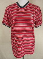 Sportliches NIKE Shirt, 100% Baumwolle, rot -anthrazit - weiß - gestreif, Gr. M