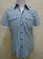 Sportliches EDC BY ESPRIT Hemd,100% Baumwolle blau-weiß-grau-gestreift  Gr. M