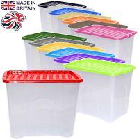 2 x 80L 80 Litre Large Plastic Storage Clear Box Stack Container + Colour Lid