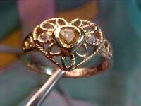 VVS Clean Fancy Heart SAPPHIRE & Natural ALEXANDRITE 14kt Filigree Design Ring