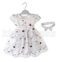 NEW Kid Baby Toddle Flower Girl Pageant Wedding Party Dress White SZ 0-12M Z614