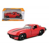 JADA TOYS JADA96808R CHEVY CORVETTE STINGRAY 1963 RED W/BLACK WHEELS 1:24 MODEL