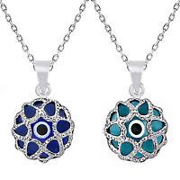 Evil Eye Good Luck Round Bead Hamsa Charm Pendant Sterling Silver Judaica Chain