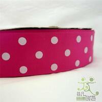 """1.5""""38mm Pink Polka Dots Grosgrain RIBBON 5 Yard Craft Sewing Hair Bow DIY"""