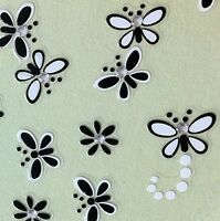 Nail Art 3D Sticker Crystal Decal Black & White Butterfly & Flower