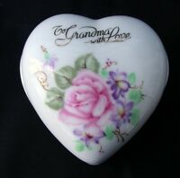 Vintage LEFTON Bone China TO GRANMOTHER with LOVE Heart Shaped Trinket Box 6227