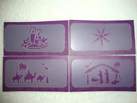 Christmas Mini Stencils - Set Of Four - Candles/Star/3 Wise Men/Nativity Scene