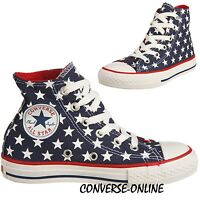 Kid Boy Girl CONVERSE All Star REPEAT STARS HI TOP Blue Trainers Boot SIZE UK 13