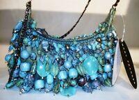 MARY FRANCES Antique Mini Turquoise Blue Summer Bag Handbag Purse Beaded NEW