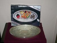 CRYSTAL RELISH TRAY CLEAR GLASS SILVER PLATE INSERT 30''OVAL  N.I.B. 5 SECTION