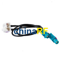 """Fakra Jack Female double """"B"""" right angle to TWO Fakra plug Z straight RG174 30cm"""