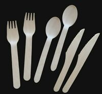 100 Disposable wood wooden utensils rustic wedding party shower Cutlery Utensils