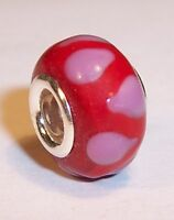 NEW RED / PINK MURANO GLASS 925 SILVER CHARM BRACELET BEAD FREE P&P & GIFT POUCH