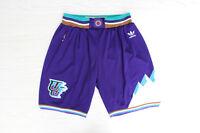 Utah Jazz Throwback Basketball Stitched Shorts White Purple