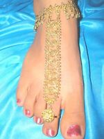 2 PCS BOLLYWOOD BELLY DANCE GOLD PLATED SLAVE ANKLET COSTUME JEWELRY  HALLOWEEN