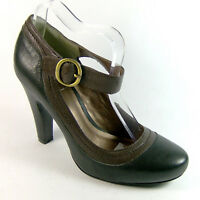 SACHA Womens Ladies Black/Brown Leather Round Toe High Heels Shoes Size UK 3 7