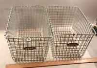 Two-2-Vintage Gym Locker Baskets -Detroit-Cass Tech High School-Texas Co.-w. COA