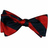 "New! Hand Made. 100% Silk. NAVY & RED Stripes SELF TIE Bow Tie.  2.5"" wide."
