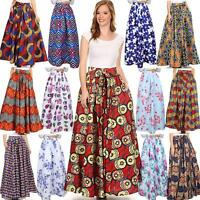 New African Ankara Skirt Dashiki Print High Waist Pleated Beach Boho Maxi Dress