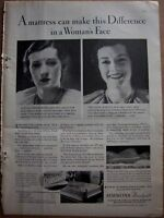1932 Simmons Beautyrest mattress Woman's Face Ad