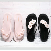 Women Summer Camellia Flower flip flops slippers Flat Casual Shoes Beach Sandals