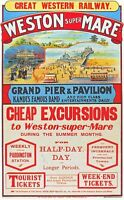 Early GWR Day Excursions to Weston Super Mare Railway Poster A3 Print
