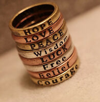 R1351 HOPE LOVE LUCK PEACE Free Belief Wisdom Courage 8pcs/set Rings Size 6