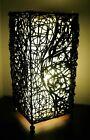 Balinese Table/Side Lamp - Black Woven Rattan Bamboo white insert 45cm BALI