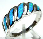 High Quality Blue Fire Opal Inlay Solid 925 Sterling Silver Band Ring Sz 7-9