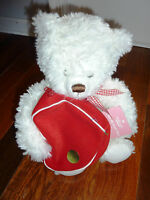 Valentines 2003 FROM MY HEART Hallmark White TEDDY BEAR Stuffed Plush Gift Pouch