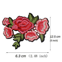 6X12CM Embroidered Flower Rose Patch Applique for Clothes Iron On Patches DIY
