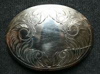 Vintage Comstock German Silver Floral Hand Eraved Cowboy Western Belt Buckle