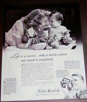 1940 Cine Kodak movie camera Mom & Baby photo print ad