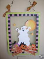 WOODEN  GHOST  PICTURE  HALLOWEEN  DECORATION  HANGING