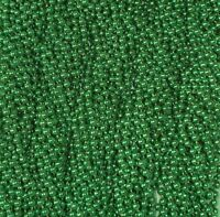 12 Green Round Mardi Gras Beads Necklaces Party Favors 1 Dozen Lot