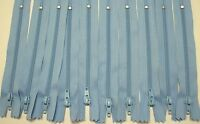 """10 - 7"""" Light Blue # 2.5 KKF Closed End Coil Zippers"""