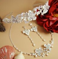 Couture Silver Bridal Wedding Jewelry and Tiara Set