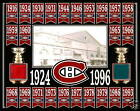 MONTREAL CANADIENS 24 STANLEY CUP BANNER 11x14 PHOTO W/ FORUM RED-BLUE SEAT