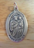 Sterling Silver 26x16mm Oval Religious Saint St Joseph Medal Charm