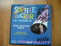 SOPHIE TUCKER In Person for adults only AUTOGRAPHED