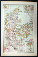 1895 1st. edition Times Atlas map Denmark
