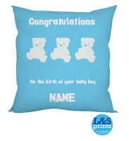 PERSONALISED CONGRATULATIONS NEW BORN BABY BOY BIRTH GIFT CUSHION TEDDY BEAR