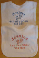Personalised Embroidered Baby Bib (feet) Birth Gift