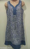 Papaya Blue linen viscose Dress (NEW) UK size 8